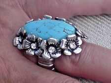 SILVER TONE & TURQUOISE RESIN ADJUSTABLE 4cm.x 3cm.STATEMENT RING £7.95 NWT