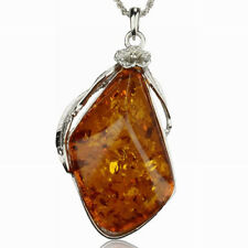 Amber Tibetan Necklace Silver Baltic Flower Chain Pendant Boho Style Stylish