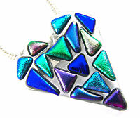 Dichroic Fused Glass HEART PIN PENDANT Blue Green Purple Mosaic Confetti Shards