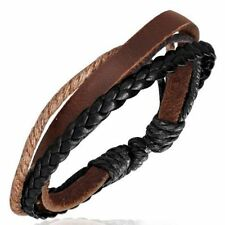 Lederarmband Armband mit geflochtenem Lederband & Baumwollschnüren Leder  STG 18