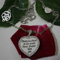 Crystal Heart Pendant Silver Necklace Love Mum Mother's Day Xmas Gift For Her UK