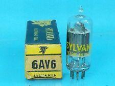 SYLVANIA 6AV6 VACUUM TUBE NOS NIB ORIGINAL CRISP BOX  SINGLE SAME GAIN AS 12AX7