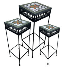 Metall Blumenhocker Beistelltisch Blumensäule Tisch Mosaik eckig schwarz