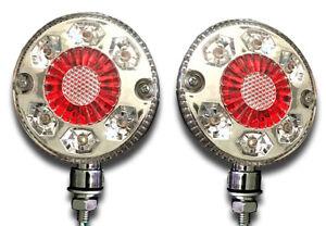 2 x 24V 24 LED CHROME RED WHITE SIDE MARKER OUTLINE LIGHTS TRUCK TRAILER LORRY