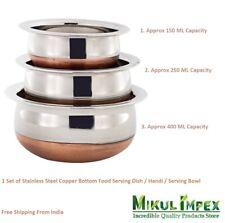 Stainless Steel Copper Bottom Baby Dish / Serving Bowl / Handi (3 Pcs) Kitchen
