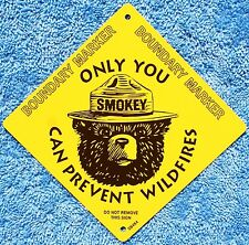 "USFS US Forest Service  Smokey Bear NEW 4""X4"" Metal Boundary Marker Info Sign"