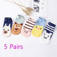5 Pairs Women Comfortable Cartoon Cute Cotton Sock Slippers Short Ankle Socks
