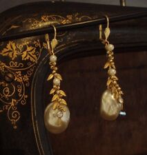 Vintage Baroque Pearl, Matt Seed Beads Drop Earrings. Miriam Haskell Style