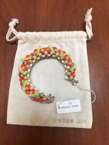 MEGAN PARK ERICA TANOV Neon Beaded Sequin Wood Cuff Bracelet MSRP NEW $184.00