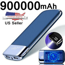 900000mAh Backup External Battery 2 USB Power Bank Pack Charger for Cell Phone