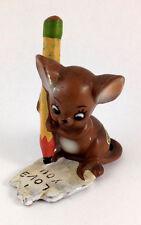Vtg Josef Originals Valentine Mouse I Love You Note ceramic Figure Labels Japan