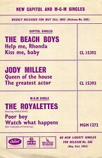More details for vintage 1965 capitol records uk flyer - the beach boys