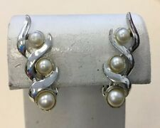 Vintage Silver Tone Costume Faux Pearl Chunky Clip Earrings FZ28