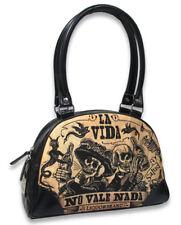 Liquor Brand  la vida skull Goth Bowler Handbag Purse B-BW-035