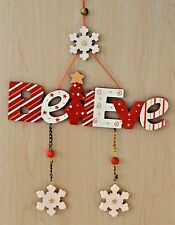 Christmas Decoration - Wooden Believe. White & Red. Tree, Snowflake, garland