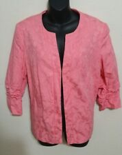 Pink Tanjay Open Front Blazer Jacket 3/4 Sleeves Womens 12