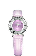 Jowissa Women's J2.018.S Roma Pastell Purple Sunray Dial Leather Slim Watch