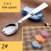 AB_ Camping Hiking Cookout Picnic Foldable Spork Stainless Steel Fork Spoon Eyef