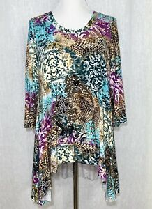 Boho Chic Womens Comfort Blouse Tunic Collage Print Size M