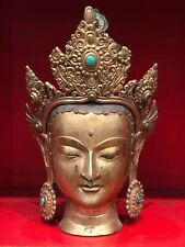 """12"""" Antique Hand Crafted Copper Tara Buddha Status with 24K Gold."""