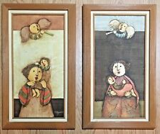 "Framed Joyce Roybal Oil Paintings of Mother, Child, Angel, 17""x29"" - You Choose!"