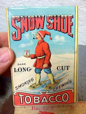 RARE! vintage Snow Shoe Tobacco Box (empty) intact seal on top, amazing example!