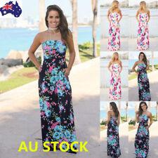 Women Off Shoulder Floral Strapless Maxi Dress Evening Party Backless Long Dress