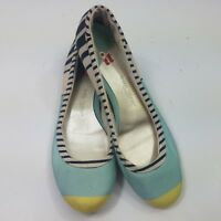 Isabel Toledo Flats Blue Yellow Canvas Colorblock Striped Slip On Shoes Size 10M