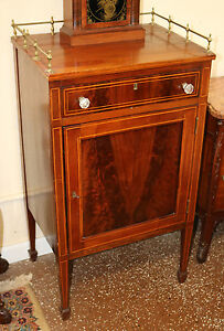 Gorgeous Sheraton American 1840s Flame Mahogany Music Occassional Cabinet Brass