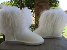 Bearpaw Boots Baby Boetis Curly Lamb Fur White Size 7 New