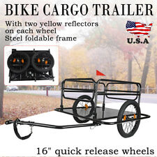 Black Steel Frame Bicycle Bike Cargo Trailer Luggage Cart Carrier For Shopping