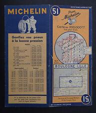 Carte MICHELIN old map n°51 BOULOGNE LILLE 1948 guide Bibendum pneu tyre