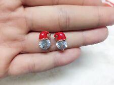 1 pair Santa hat studs Christmas Gift Round zircon festival earrings men women