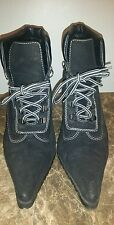 Women's Splash Black Suede Stiletto Heel ankle boots size 8.5