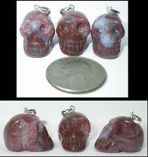 ~NEW!~ 1 Rainbow Jasper Crystal Skull PENDANT w/ Sterling Silver Bale