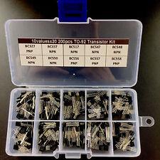200pcs Transistor Assortment Assorted Kit Box TO-92 BC serie BC547 BC557 10Value
