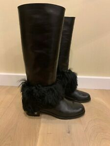 Authentic CHANEL tall riding boots with fur 38