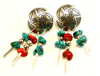 Amazing Red Coral & Turquoise Stone Native American Sterling 925 Dangle Earrings