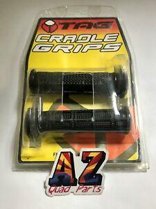 Tag ATV Handlebar Grips Black Yamaha Raptor 125 250 350 660 700 700R Grizzly