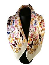 St. Germain Mulberry Silk Scarf, Ivory Butterflies 52 cm FREE SCARF RING