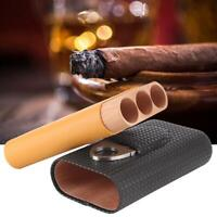 For COHIBA Classic Black&Yellow Leather Travel 3 Tube Cigar Case Humidor Holders