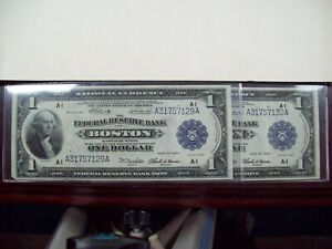 1918 $1 Boston National Currency Note (2 consecutive)