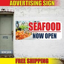 SEAFOOD NOW OPEN Advertising Banner Vinyl Mesh Decal Sign bar shop fresh frozen