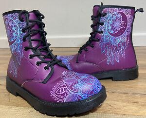 Sun Moon Mandala Dream Catcher Zen Purple Vegan Leather Boots Women's Size 7