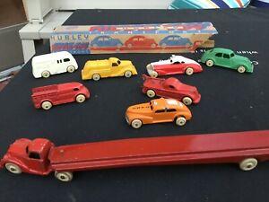 VINTAGE LOT - 8 Hubley Kiddie Metal Cars and Trucks - NICE! Fire Truck, Police
