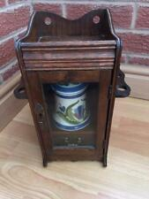 Vintage Oak Smokers Cabinet with Pot Bowl and Hinged Pipe Racks