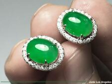 Cabochon Rich Emerald Green Jadeite Jade 18K White Gold Diamond Earrings 21.90ct