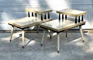 Set of 2 Vtg MCM Retro Atomic 2 Tier Step Blonde Black Brass Formica End Tables