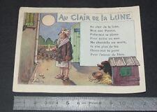 CHROMO 1914-1935 ALCOOL DE MENTHE RICQLES AU CLAIR DE LA LUNE COMPTINE