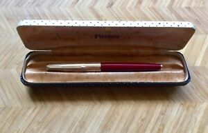 """Vintage Parker """"61"""" Fountain Pen,Rage Red and Gold,Capillary Filler,Original Box"""